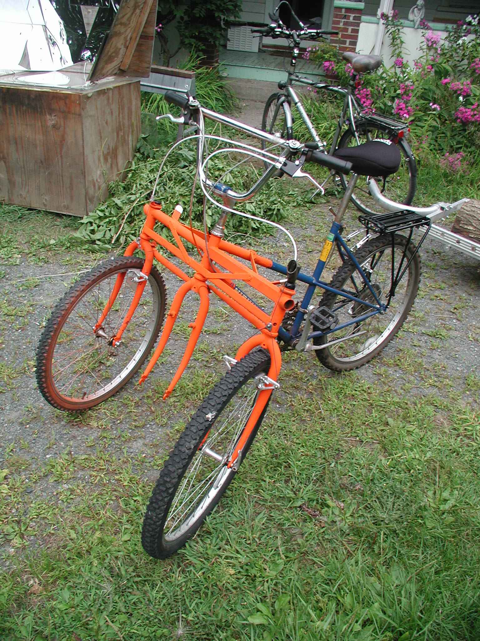 Front Two Wheel Bicycles http://www.transitionamherst.org/blog/projects/building-community-with-bicycles/olympus-digital-camera-11/